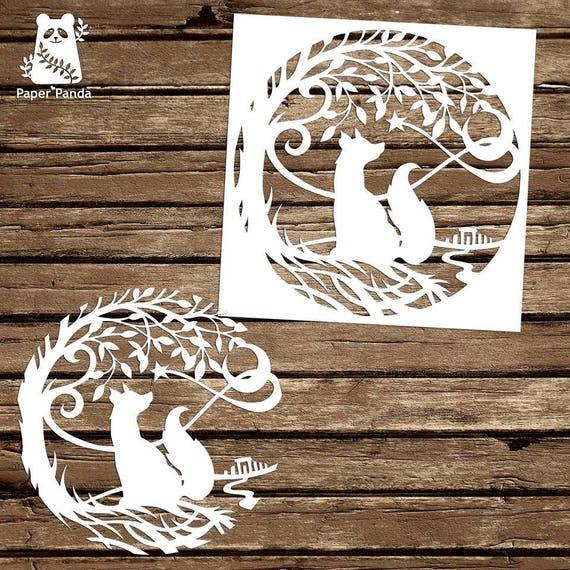 Paper panda papercut diy design template magic star maxwellsz