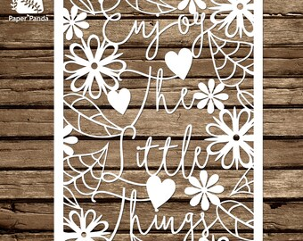 PAPER PANDA Papercut DIY Design Template - 'Enjoy The Little Things' - Typography