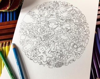 PAPER PANDA Colouring Page - 'All The Christmas Things'