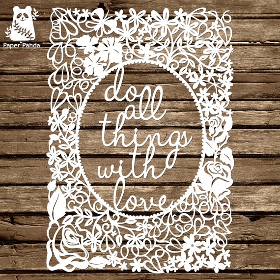 Paper panda papercut diy design template floral etsy image 0 maxwellsz
