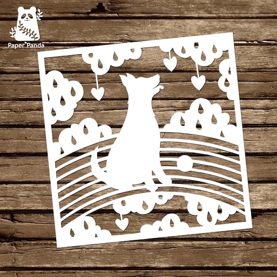 Paper panda papercut diy template rainbow doggy etsy image 0 maxwellsz
