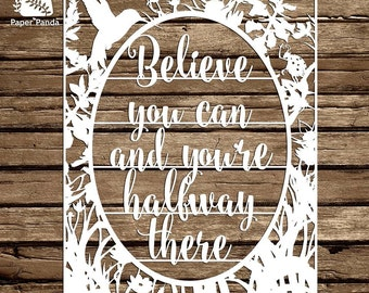 PAPER PANDA Papercut DIY Design Template - 'Believe You Can' - Typography