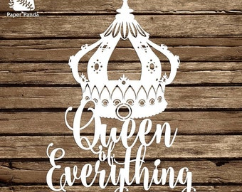 PAPER PANDA Papercut DIY Design Template - 'Queen Of Everything'