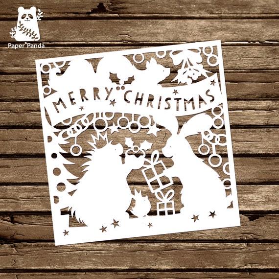 Paper panda papercut diy design template woodland etsy image 0 maxwellsz