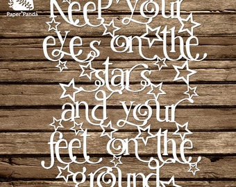 PAPER PANDA Papercut DIY Design Template - 'Keep Your Eyes On The Stars'