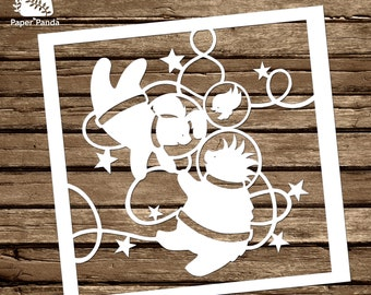 PAPER PANDA Papercut DIY Design Template - 'One Small Step' - Animal Astronauts in Space!