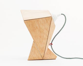 Origami wood and paper accent lamp - Modern geometric wood and paper folded table lamp - Modern origami accent table lamp