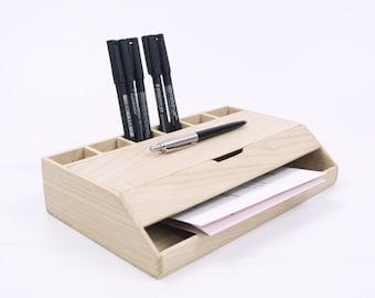 Modern wood desk organizer and storage, home and office handmade workspace organization