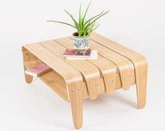 Coffee table with storage - Wooden living room low table, Modern center table made of curved laminated wood - Mid-century living room table