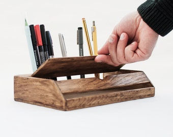 Vintage Wood Desk Organizer   Rustic Desk Accessories   Walnut Stationery  Organization   Midcentury Desk Accessories   Vintage Office Decor