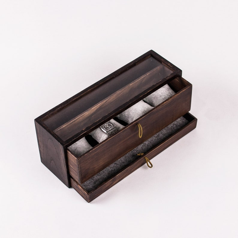 fe0cc554f316 Estuche para relojes y joyas de madera Organizador joyero