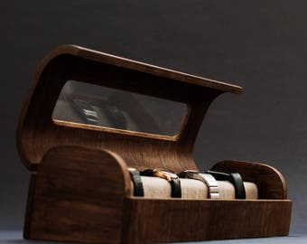 Modern wood watch organizer - Exclusive watch box - Vintage wood jewelry box - Minimalistic modern watch case - Watches collector wood case