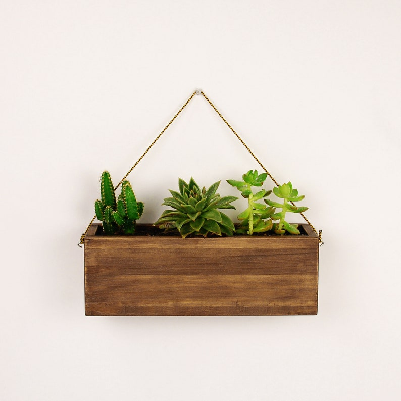 5536db0133a3 Vintage wooden hanging planter for succulents and cactus | Etsy