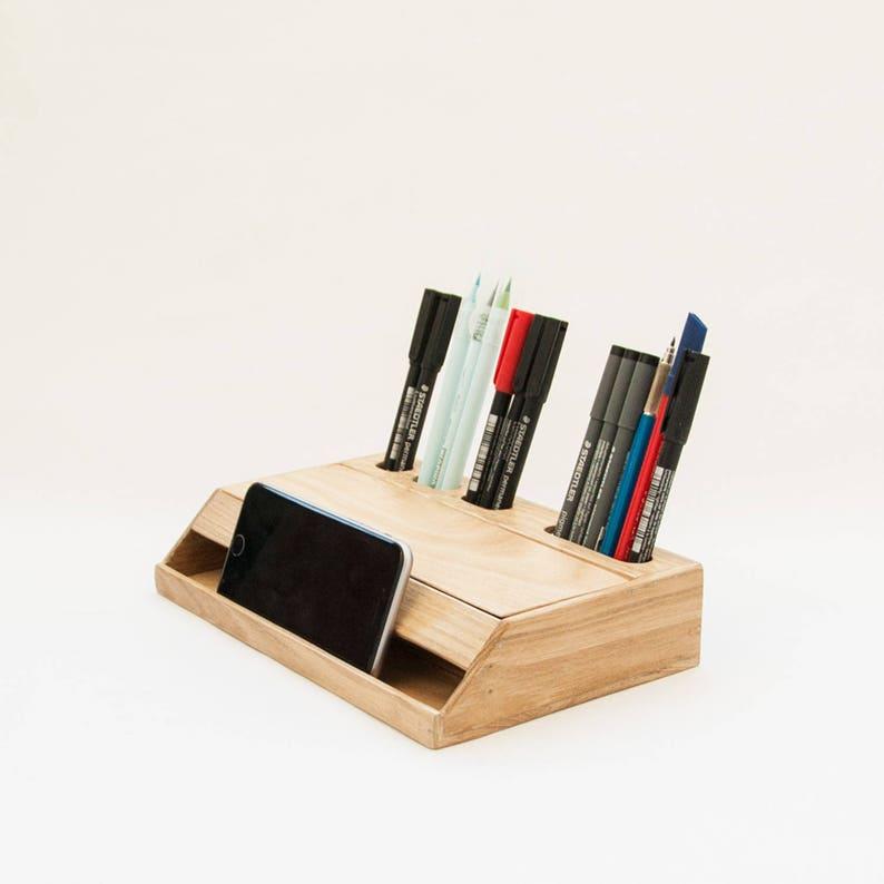 Wood Desk Organizer Office Desk Organization Handmade Desk
