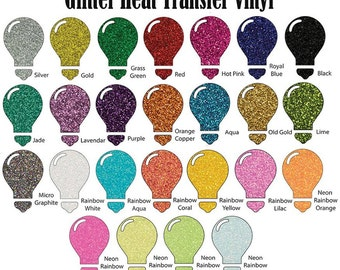 """Glitter Heat Transfer Vinyl 12"""" x 20"""" /12in. x 20in. Heat Transfer Vinyl/Heat Transfer Vinyl/Iron On Vinyl/12"""" x 20"""" HTV"""