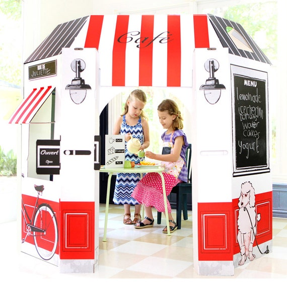 French Cafe Cardboard Playhouse for Kids
