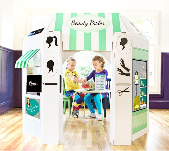 Beauty Parlor Cardboard Playhouse for Kids