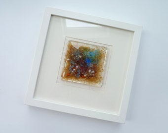 Fused glass picture ~ Artwork, Abstract glass wall art, Original painting, Contemporary art Coloured glass tile Modern home House warming