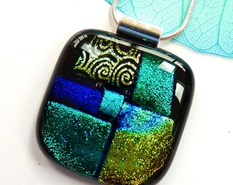 Custom listing for Nichola, Dichroic glass pendant, ashes pendant, Melted fused glass jewelry