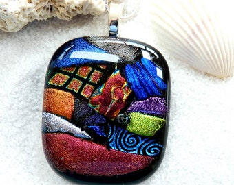 Glass pendant ~ Fused glass pendant necklace, Dichroic jewellery, Handmade unique pendants, Fashion jewelry, Dichro necklace gift for ladies