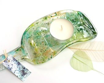 Candle holders~ melted wine bottle upcycled tea light holder art glass table decor recycled home style quirky gift new home gift  eco gifts