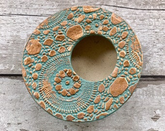 Planter ~ plant bowl, ceramic pot, flower vase, flower arranging gift, handmade Ikebana vase, turquoise copper modern flower vase, plant pot