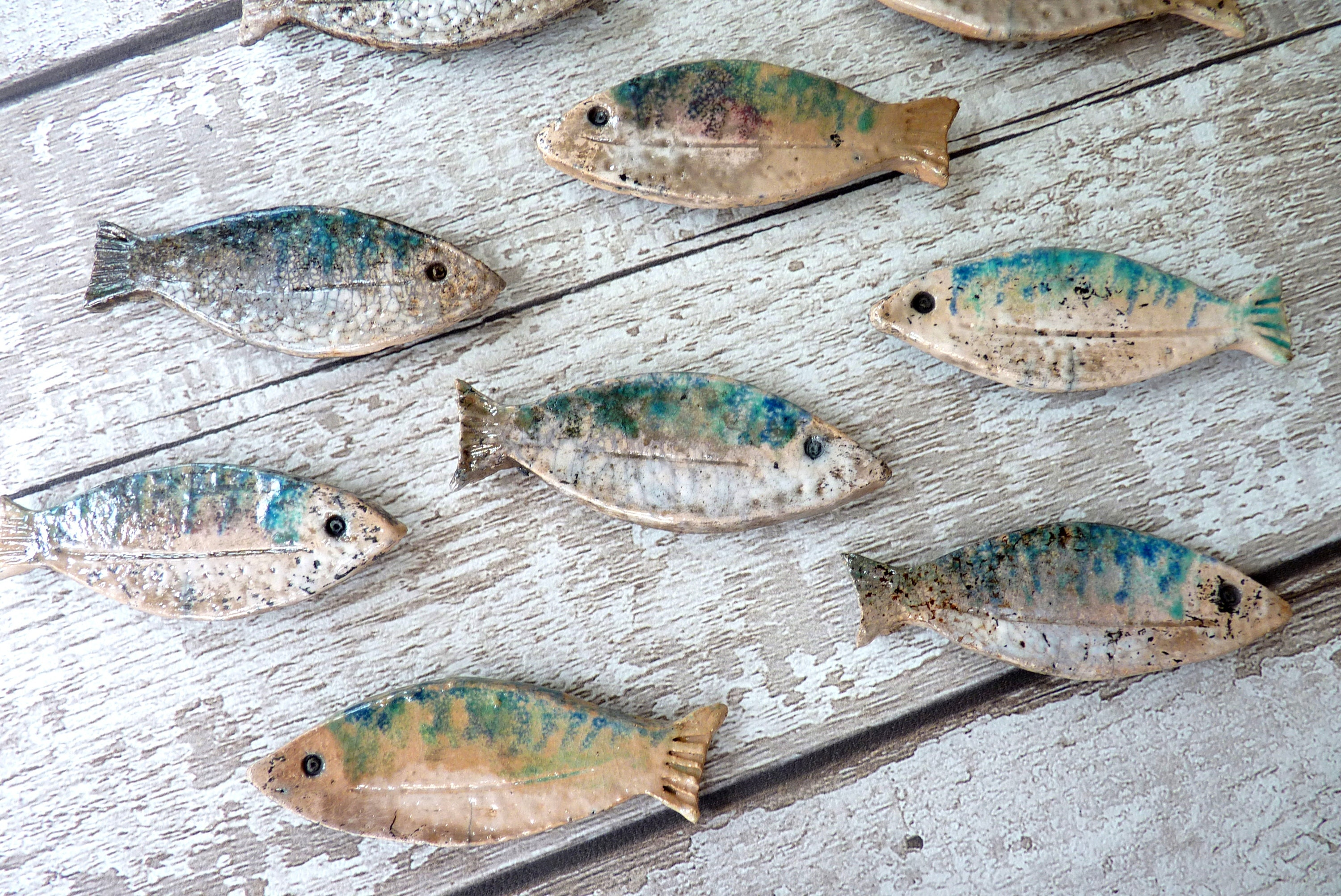 shoal of fish ceramic wall art bathroom decoration
