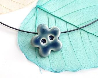 Flower necklace ~ handmade ceramic flower pendant button jewelry porcelain jewellery neat dainty necklace for fun lovers women girl friends