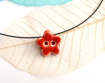 Flower pendant ~ handmade ceramic flower necklace button jewelry porcelain jewellery small necklace, gift for girlfriend women daughter