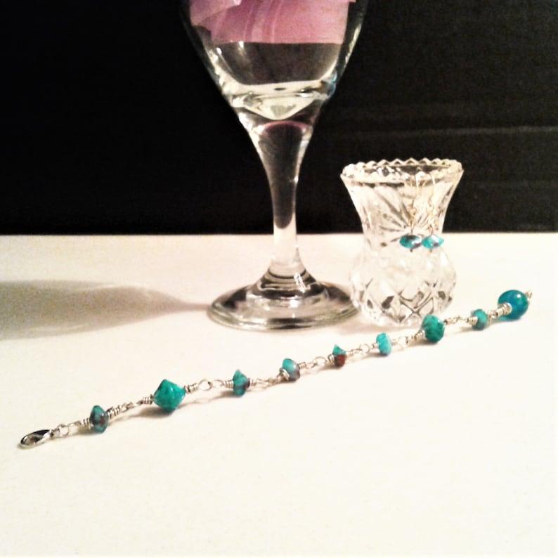 Light Blue Women/'s Jewelry Set Silver Beaded Bracelet /& Earrings