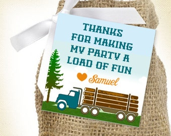 Log Truck / Load of Fun / Thank You Birthday Favor Tags  - Printable, Logging Boys Birthday Favor Tag