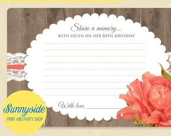 Birthday Memories Card Wishes Milestone 50 60 70 80 90 Rustic Floral Printable Wish