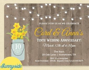 Anniversary Mason Jar Invitation - Surprise Anniversary Party Invitation -  10th Anniversary Invite - Daffodils, printable digital file
