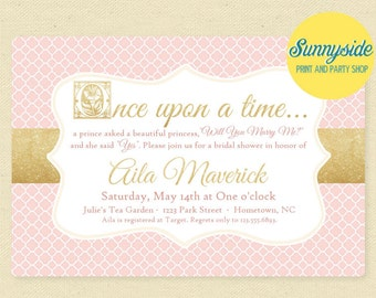 Printable Once Upon a Time Bridal Shower Storybook Invitation, Blush Pink & Gold Wedding Shower Digital Invite, fairy tale, prince