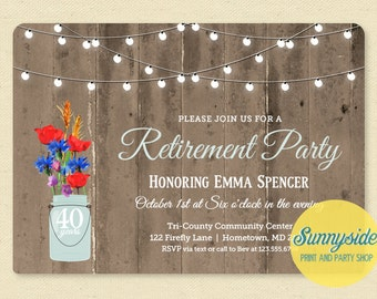 Rustic Retirement Invitation - Retirement Party Invitation - Mason Jar Barnwood & Lights Printable Invite, Retiring Surprise
