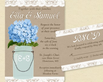 Blue hydrangea wedding invitation with mason jar, burlap lace invite and rsvp, country rustic wedding, printable or printed, informal casual