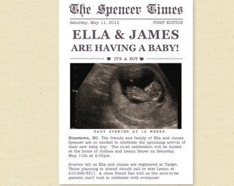 Newspaper Baby Shower Invitation, Printable Couples Baby Shower Invite with ultrasound photo, black and white