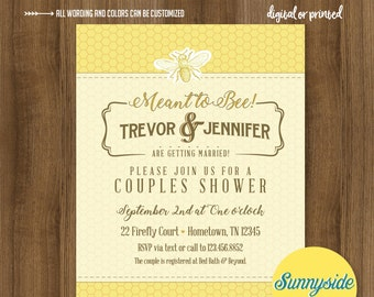 Bridal Shower BEE Invitation // Meant to BEE shower // honey bee bridal shower or couples shower, vintage style, printable