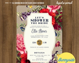 Modern vintage floral bridal shower invitation with wildflowers // printable invitation // wedding shower invite // kraft navy gold