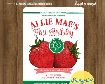 Strawberry birthday invitation, berry sweet party invite, first birthday or any age,  printable or printed berries invitation farmers market