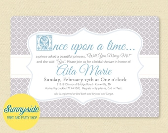 Fairytale Bridal Shower Invitation | Wedding Shower Storybook Printable Invite | Silver, Blue, Happily Ever After, Once upon a time