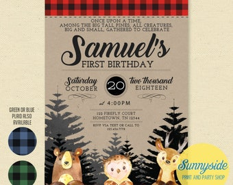 Woodland First Birthday Invitation // forest animals party invite // wildlife printable invitation with buffalo plaid // rustic