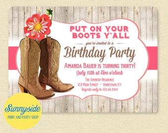 Western Boots Birthday Party Invitation with Pink Dahlia - Cowgirl, Cowboy, Country / Western Printable Invite - 21st, 30th, 40th, Rustic