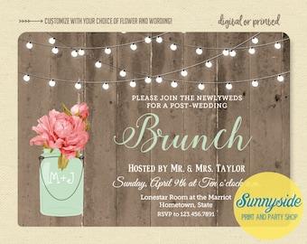 Brunch wedding invitation, newlyweds morning after brunch, bridal shower brunch, rustic twinkle lights barnwood invite, printable digital