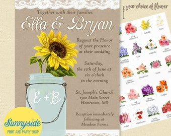 Mason jar wedding invitations // kraft burlap lace diy printable invites // barn, country or rustic wedding // you choose flower!
