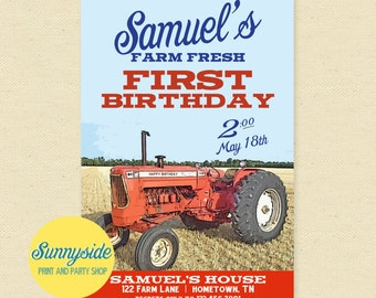 Vintage Tractor Birthday Invitation, Boys Birthday Party Invite, Farming, Farmer, Country - Printable invitation, 1st first, red, orange