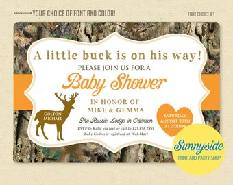 Deer / Hunter / Camo Camouflage Baby Shower Invitation - Printable Invite - Buck or Doe, baby boy, orange