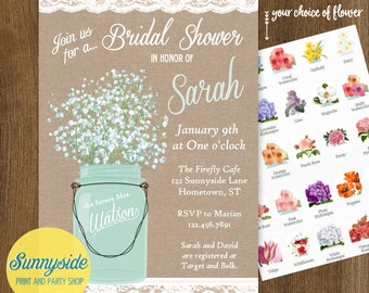 Babies breath in mason jar invitation with burlap and lace // rustic or country bridal shower // printable or printed invitations