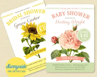 Garden shower printable invitation, you choose flowers and colors, perfect invite for backyard or outdoor bridal shower or baby shower