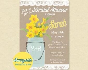 Daffodils Bridal Shower Invitation, Mason Jar Printable Invite, Spring Wedding Shower, Burlap and Lace, Yellow